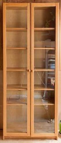 60 Tall Ikea Billy Book Case With Wood Framed Glass Doors