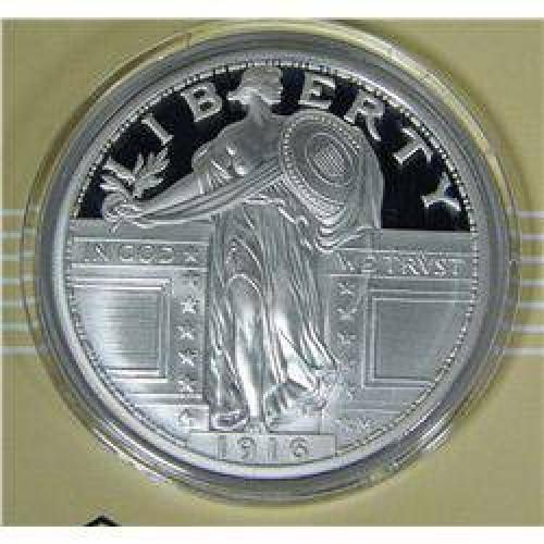 $65 2 Ounces .999 Silver 1916 'Bare Breast' Standing Liberty