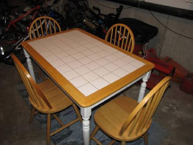 tile top kitchen table and chairs 65 wooden kitchen table with inlaid tiles and four chairs 9470