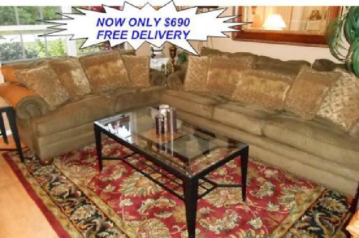 690 Obo Sensation Olive Microfiber Nail Head Sofa Set By Kevin Charles Furniture For Sale In