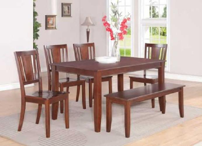 $699 6pc Dudley Dining Table with 4 Chairs & 1 Bench in Black (raleigh )