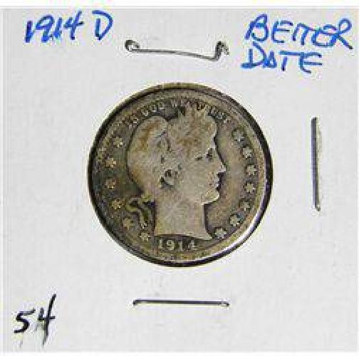 $6 1914-D Barber Liberty Head Quarter