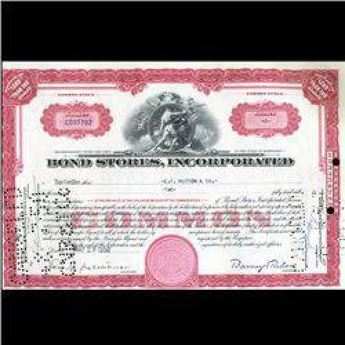 $6 1950s Bond Stores Stock Certificate Scarce (CUR-006399)