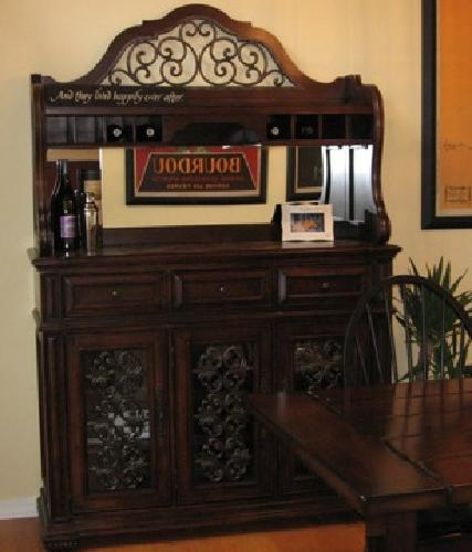 700 350 Matching Dining Room Hutch And Entry Table With Marble Top For Sale