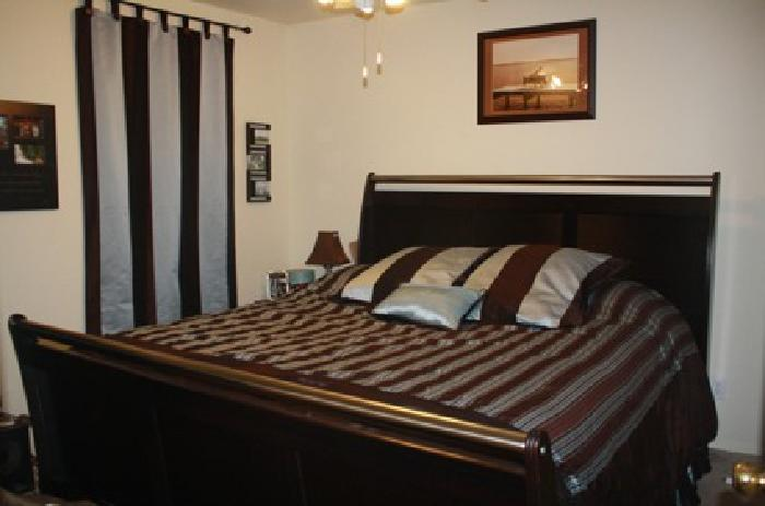 700 5 piece dark cherry wood bedroom set king size for sale in