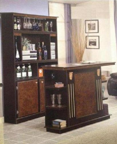 700 Big Beautiful 2 Pc Brown Espresso Home Bar Set Bar W Liquor Cabinet For Sale In Houston