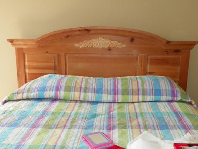 $700 OBO Broyhill Queen bed, Mattress, Boxed Springs and Large Armoire