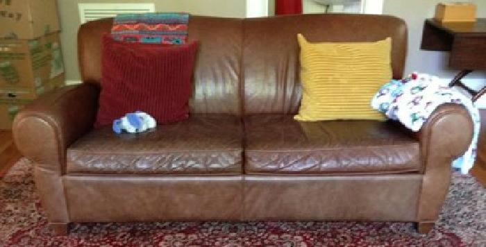 700 Obo Pottery Barn Brown Manhattan Leather Sofa Couch