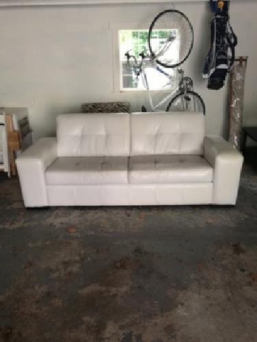 700 Obo Z Gallerie White Leather Domino Sofa
