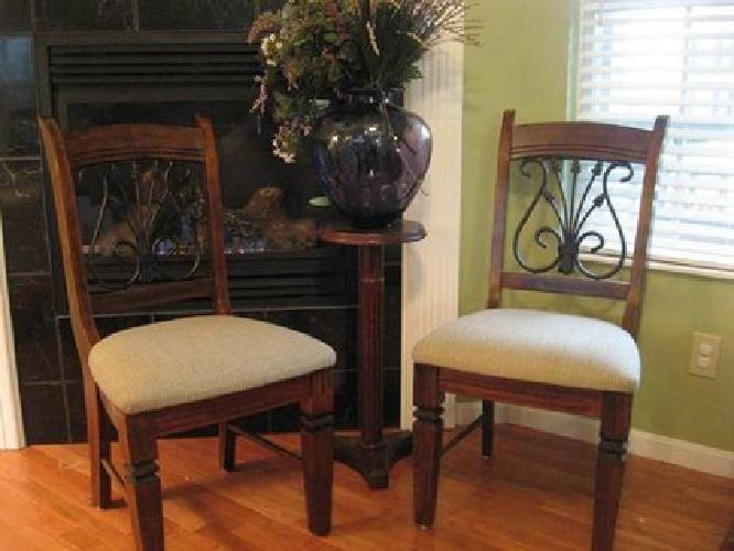 $70 2 Ashley Dining Chairs Wood Upholstered Cushion Millenium Baja D454-01