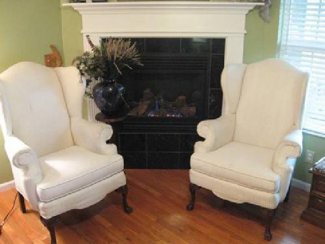 $70 2 White Broyhill High Tall Wing Back Upholstered Arm Chairs