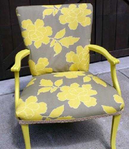 $70 OBO Arm Chair, Yellow, New Paint and Upholstery