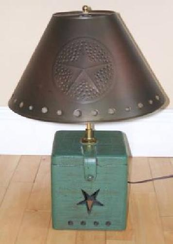 $70 Primitive-Style Lamp with Tin Shade and Wood Base
