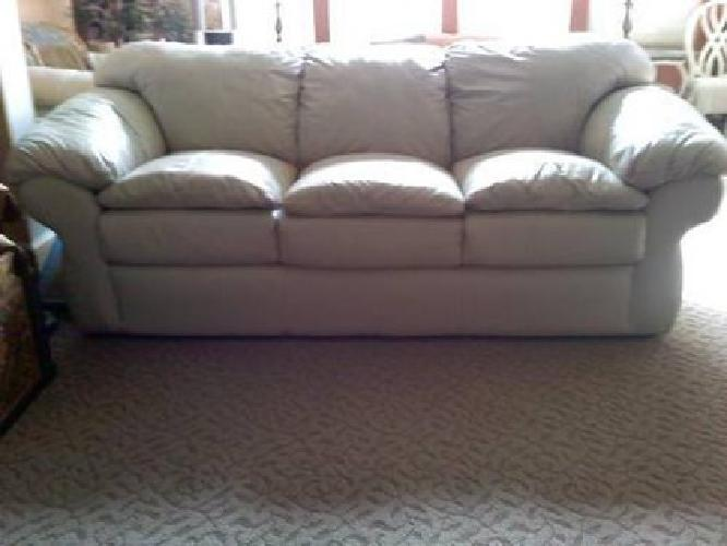 725 Sealy Leather Couch Chair With Ottoman Very Good Condition 3 Pcs