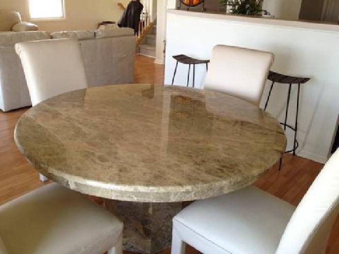 750 Beautiful Solid Marble Dining Room Table With 4 Beige Leather