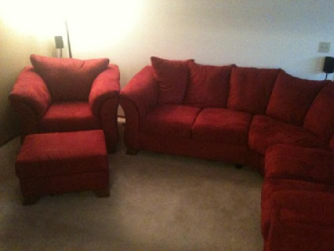 750 red microfiber sectional and comfy oversized chair w ottoman for