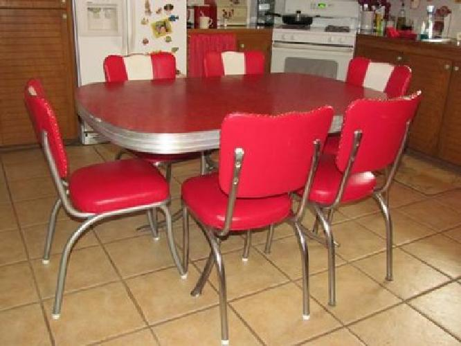 750 retro 1950 39 s red kitchen or dining room table with 6 chairs for sale in graford texas. Black Bedroom Furniture Sets. Home Design Ideas