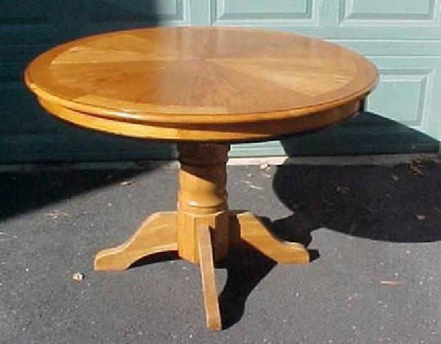 75 42 round oak dining table with chunky pedestal base for sale in