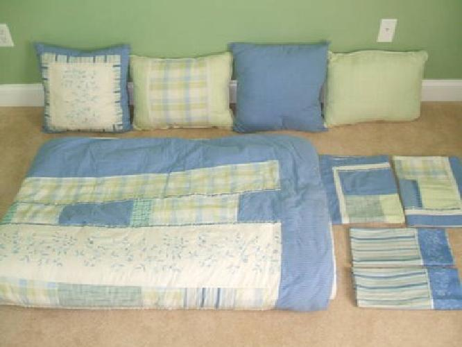 $75 Bedroom Set - Light Blue/Green with Patchwork/Checkerboard/Stripes