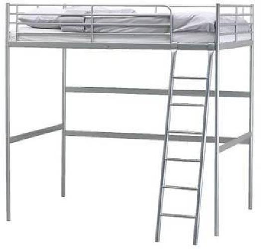 75 ikea tromso loft bed frame silver twin used space for Space saving bed frame