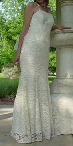$75 Off White, Lace Wedding Dress -- Size 7
