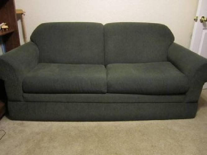 $75 Used Lazy Boy sleeper sofa dk green corduroy good condition for sale in Norman Oklahoma