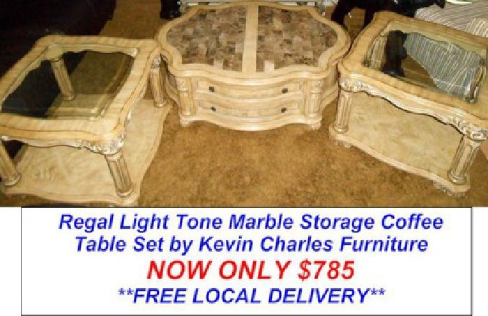 785 Regal Light Tone Marble Storage Coffee Table Set For Sale In Port Saint Lucie Florida