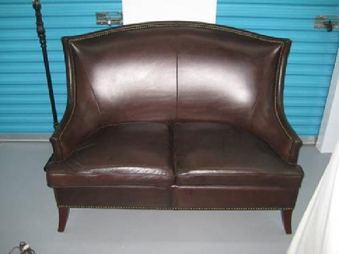 $800 Bombay Company Heathrow Leather Brown Winged Back Chair And Couch