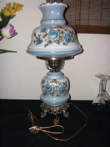 hurricane table lamp w floral motif mint condition 1970s for sale. Black Bedroom Furniture Sets. Home Design Ideas