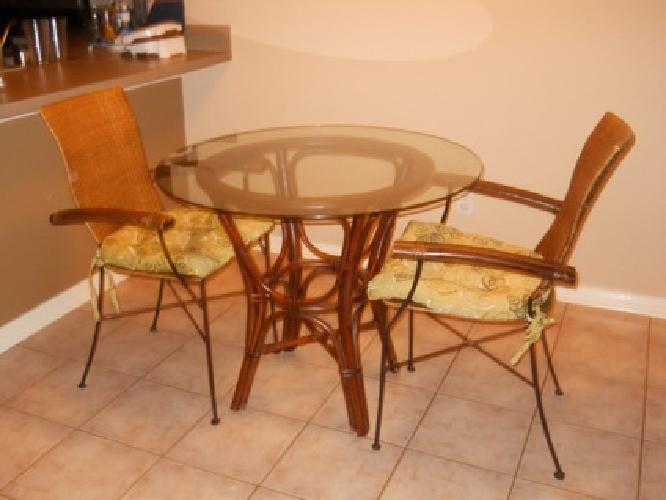 80 Pier One Wicker Glass Table And Chairs For Sale In