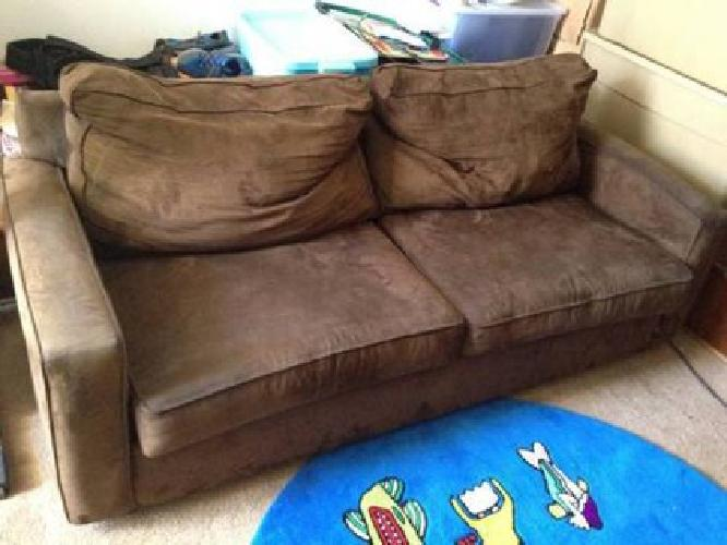 $80 Used Sleeper sofa brown micro suede queen bed for sale in Ventura California Classified