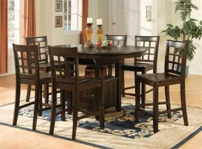 $829 ELEGANT COUNTER HEIGHT TABLE WITH 6 CHAIRS (raleigh )