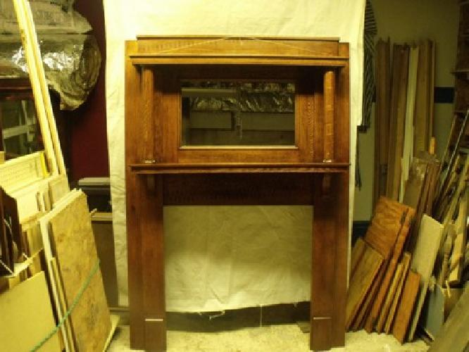 $850 Fireplace mantel 1800's Antique Tiger stripped-oak