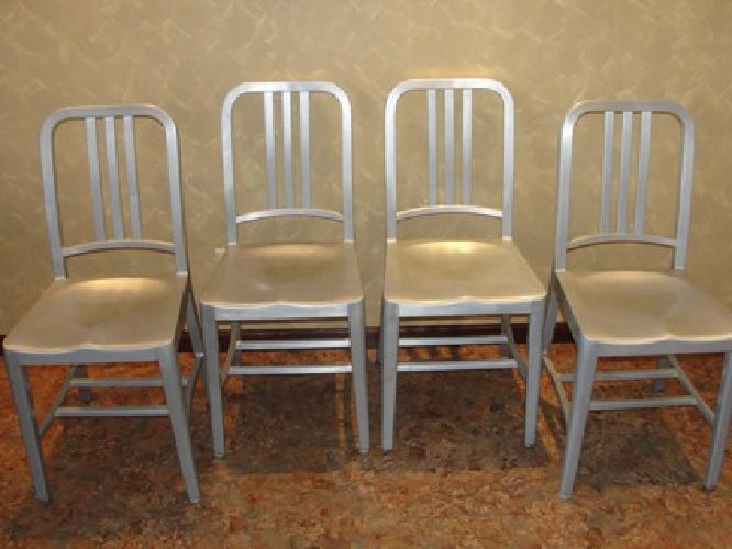 $855 4 Vintage Emeco All Aluminum 1006 Navy Chairs
