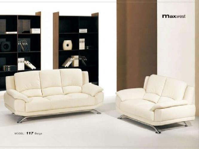 859 2 Pcs Modern Leather Sofa Loveseat Starting At Free