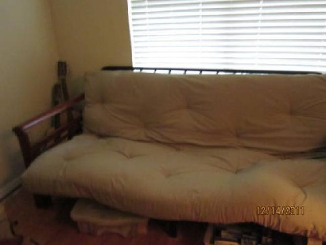 $85 FUTON/ Tan Mattress with Cherry Color Frame