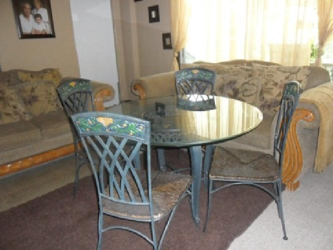 $85 OBO Wrought Iron Dinner table with 4 chairs