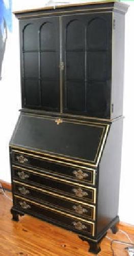 $900 Jasper Cabinet Company black painted secretary desk ...