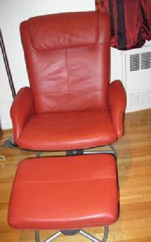 90 Ikea Red Leather Swivel Reclining Chair Ottoman For