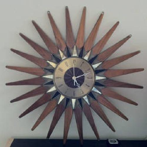 $90 Retro Vintage Seth Thomas Wall Clock Starburst Stylemaster Wood Brass