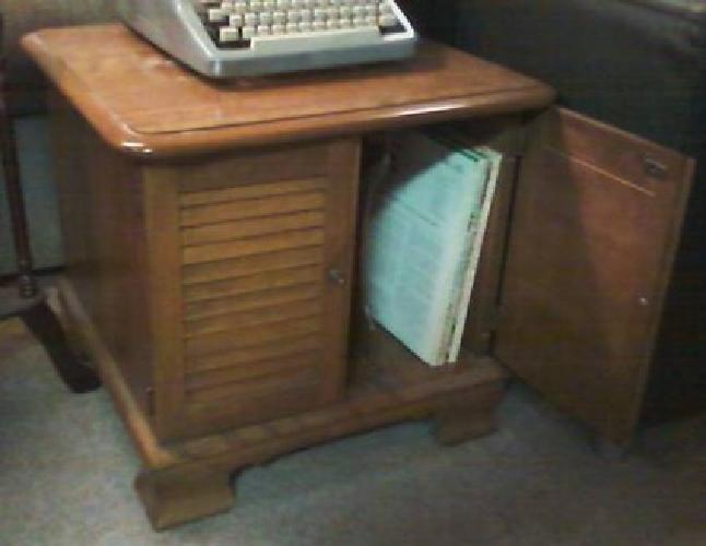 90 Vintage 1960s Ethan Allen Record Cabinet End Table