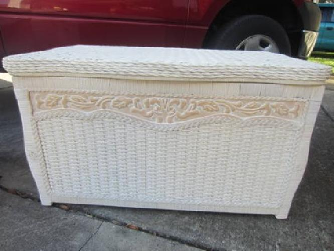 95 Perfect Light Carved Wood And Ivory Wicker Pier One
