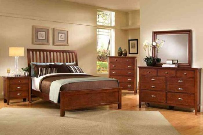999 Modern Cherry Bedroom Set Made In America By Vaughn Bassett Columbus Furniture For Sale In
