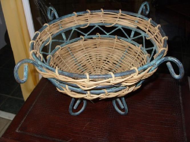 Basket - Metal and Wicker Combination