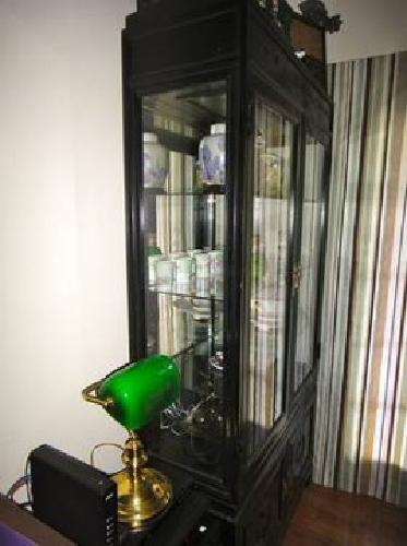 Black china display curio cabinet for sale in for Chinese furniture houston tx