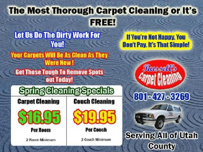 Carpet Cleaning - $16.95 Per Room, Couch Cleaning - $19.95, Auto Interior $49.95