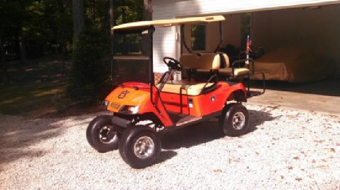 Custom Auburn Tigers EZ-GO Golf Cart NEW BATTERIES/CHARGER for sale on auburn university golf club clothing, auburn university club golf course, beach buggy cart,