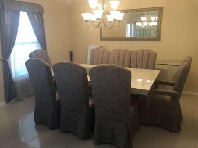 Custom dining room set with dining room table extension slide and buffet table