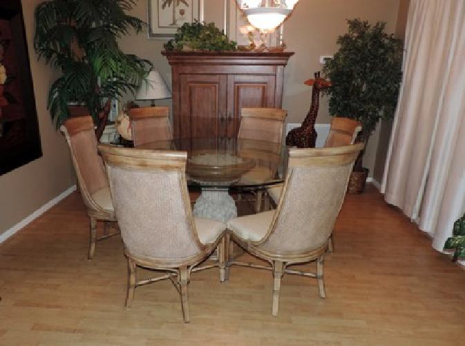 Drexel Heritage Tropical Style Glass Top Dining Set