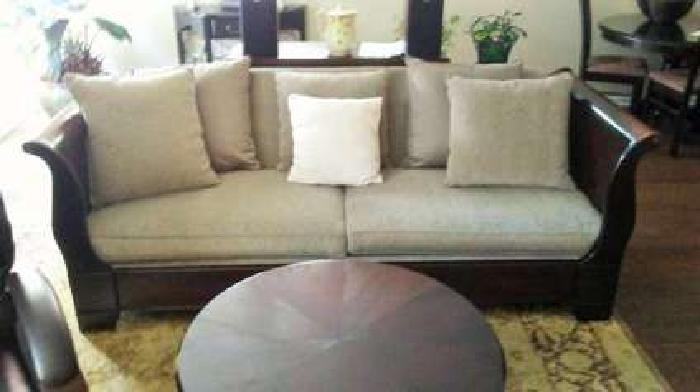 High End Sleigh Sofa (Rich Dark Wood)